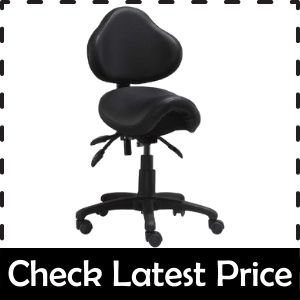 2xhome - Ergonomic Adjustable Rolling Saddle Stool Chair With Back Support